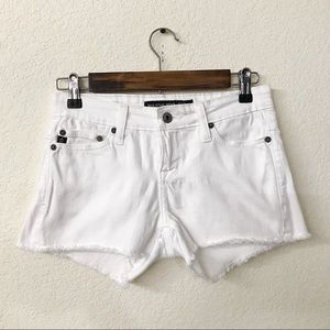 Big Star Alex Mid Rise White Raw Hem Shorts